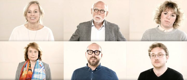 Collage aus Filmstills der an den Videointerviews beteiligten Personen