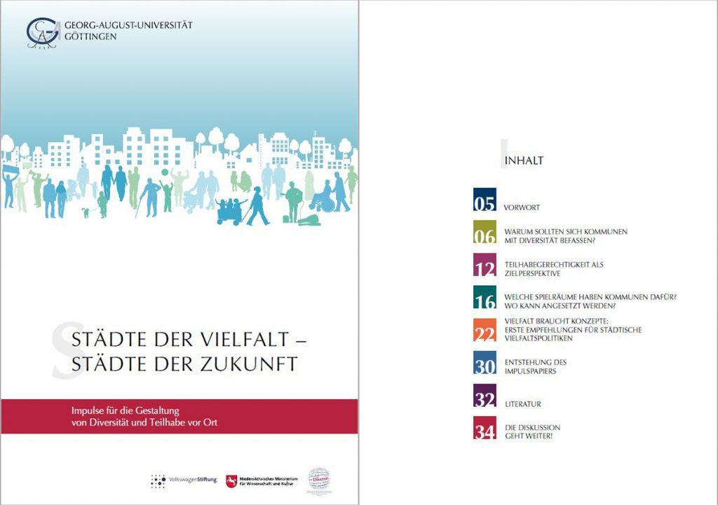 Screenshot der Titelseite und des Inhaltsverzeichnis des Impulspapiers